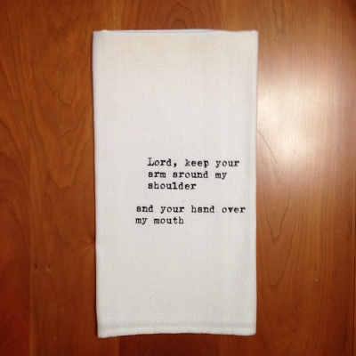 Lord Watch My Mouth Dish Towel $8