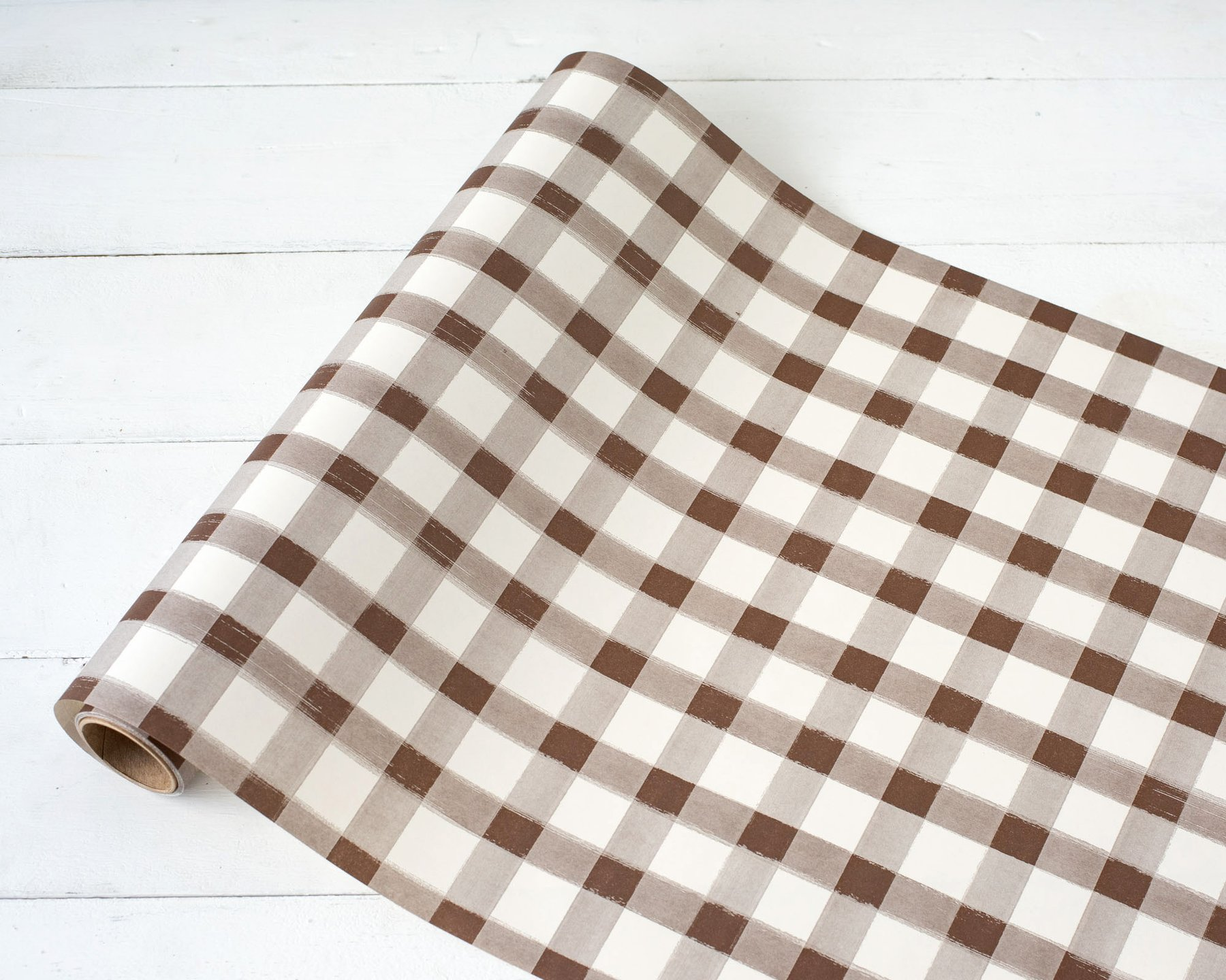 """Brown Painted Check Paper Table Runner - 20"""" x 25' $29"""