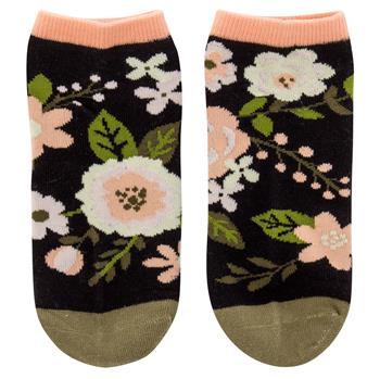 Charcoal Flower Ankle Socks $7