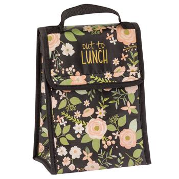 Charcoal Flower Lunch Sack $8