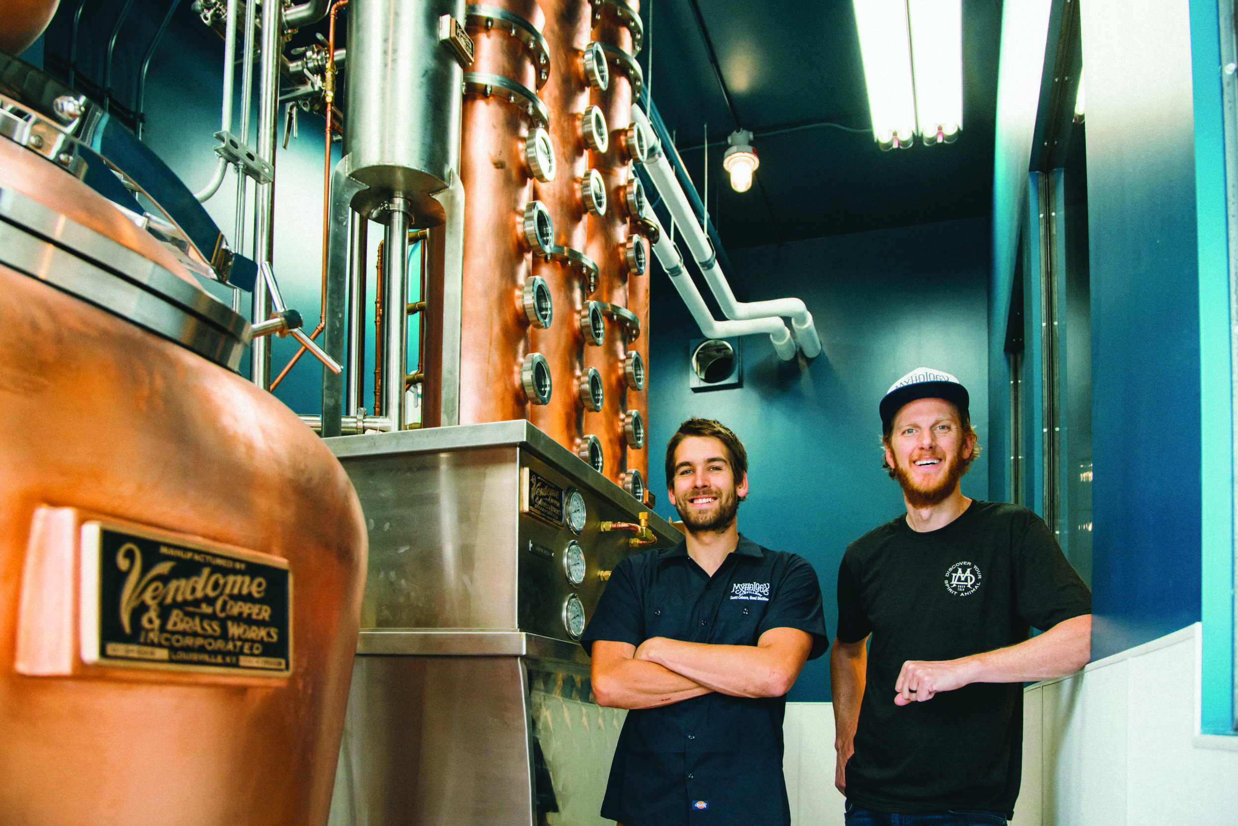 Co-owner Scott Yeates and Head Distiller Scott Coburn of Mythology Distillery. Photo: Noah Berg