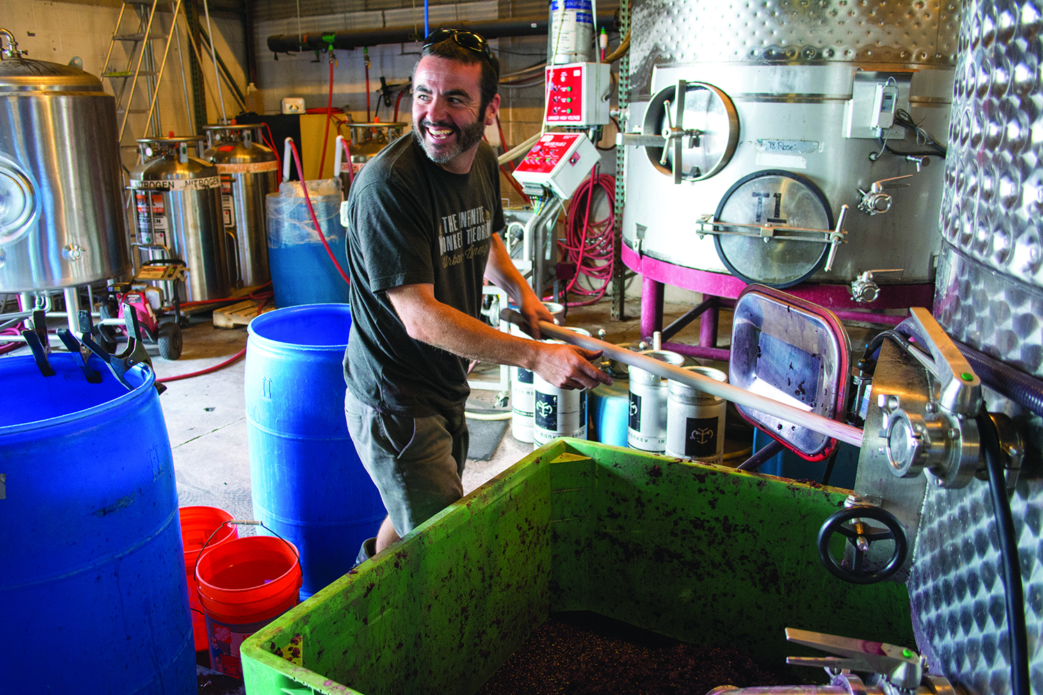 Infinite Monkey Theorem owner Ben Parsons works inside the winery.