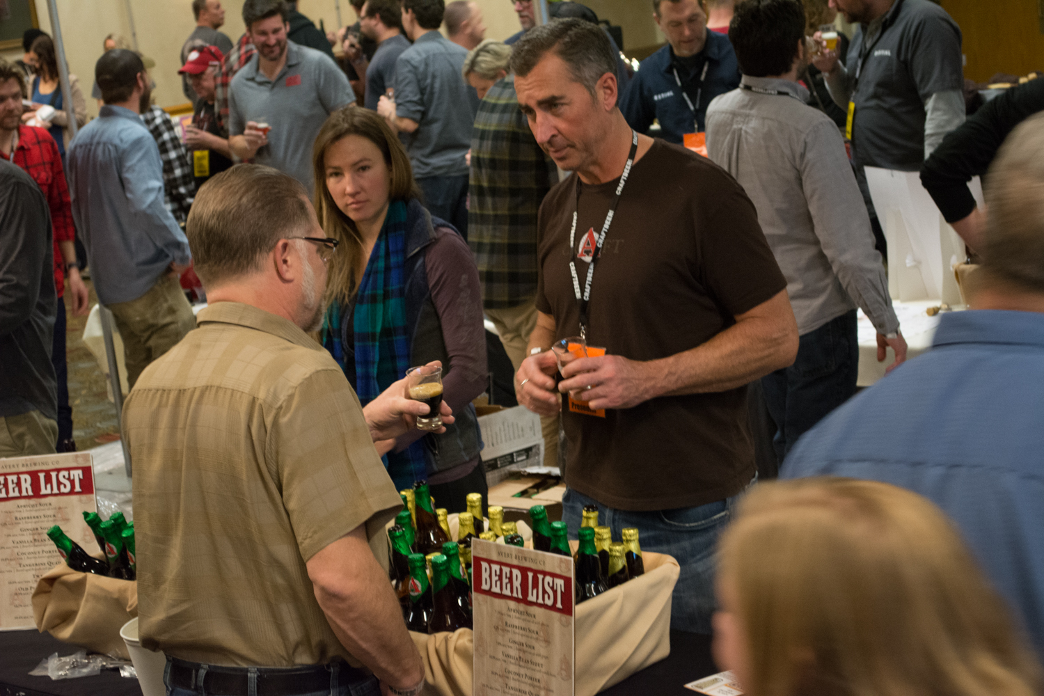 Adam Avery talks beer with attendees at the Avery Brewing booth. Photo: Neill Pieper