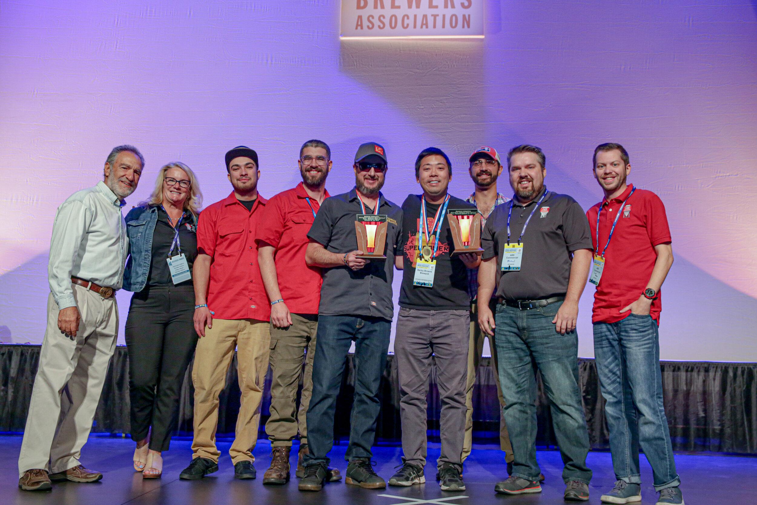 The Comrade Brewing Team receiving their award. Photo ©  Brewers Association