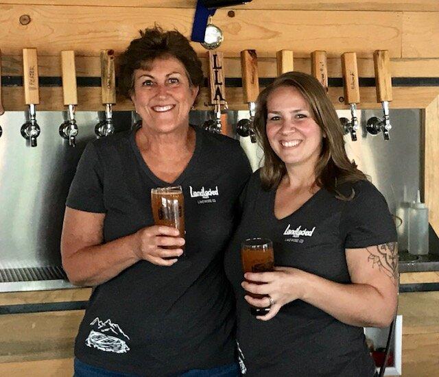 Danella Soeka, owner of On Tap Branding (left) and Brandi Burgei, co-owner of Landlocked Ale (right)