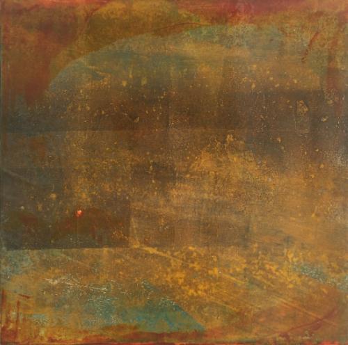 12x12 Monotype on canvas 'Mercurial Mood'