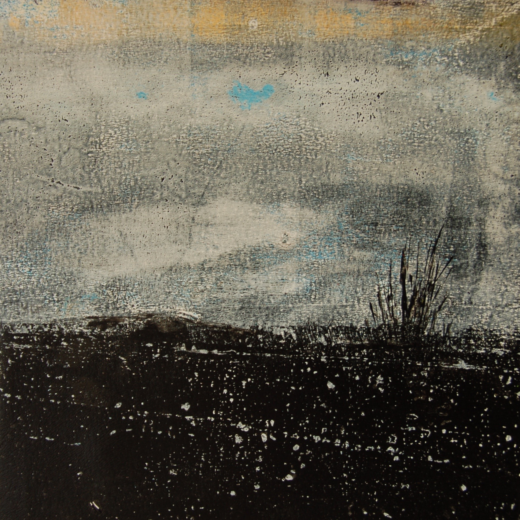 10x10 monotype painting on canvas