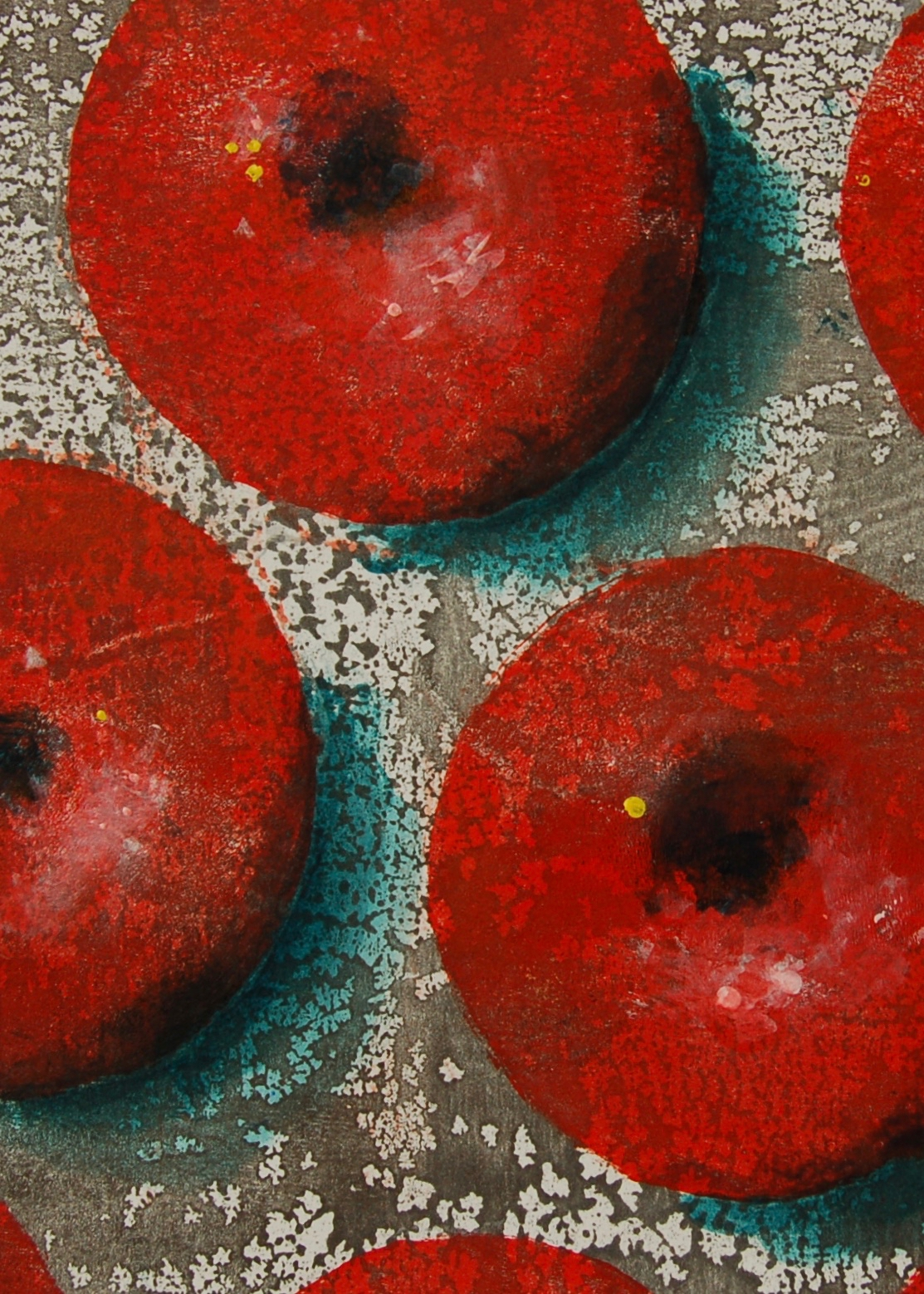 'How do you like them apples?II' - monotype painting from 'Being Fruitful'