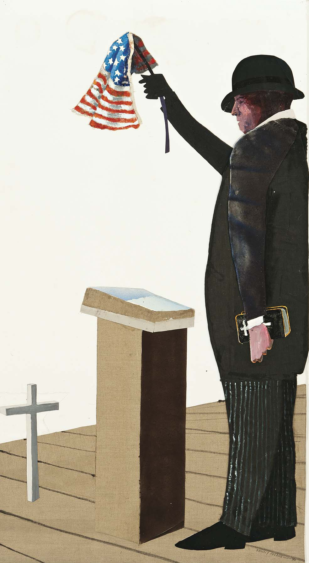 Demagogue,  1990 oil and collage on paper 50.75 x 27.75""