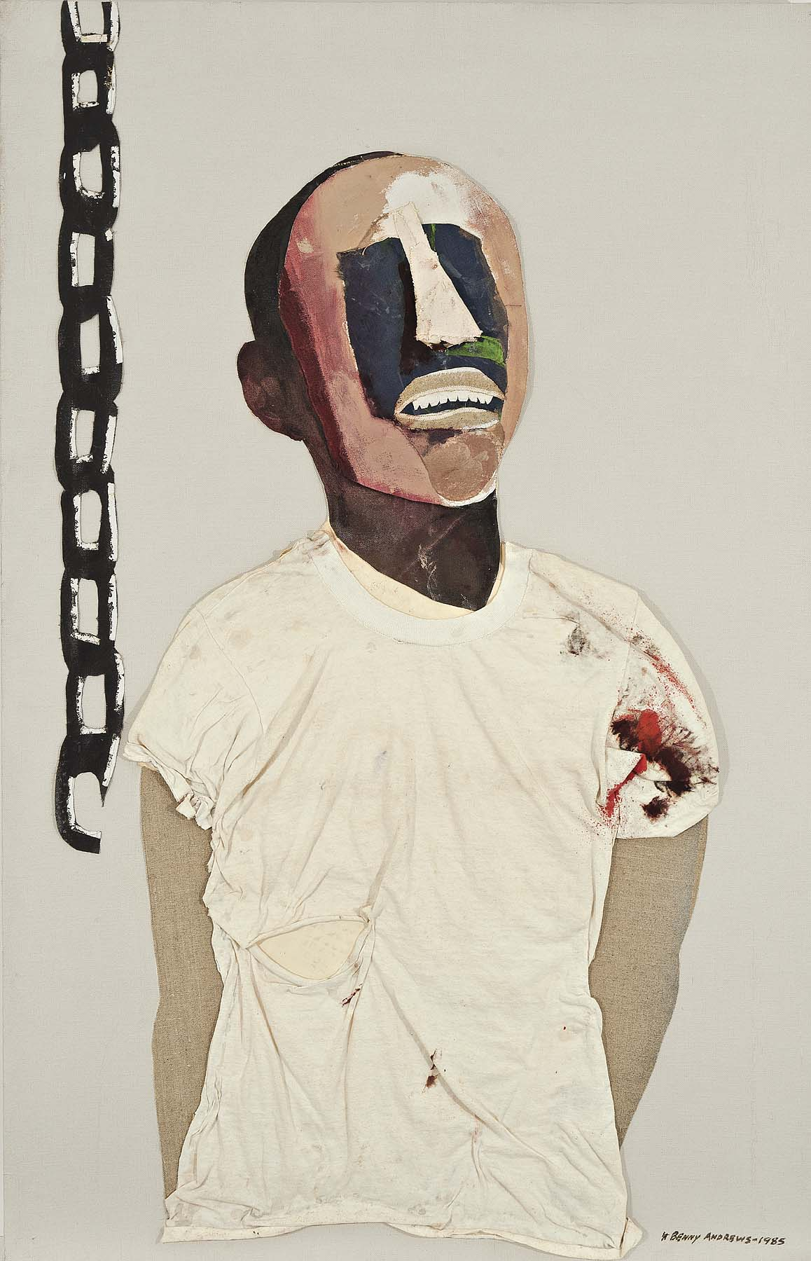 Study for Portrait of Oppression (Homage to Black South Africans),  1985 oil and collage on canvas 44 x 28""