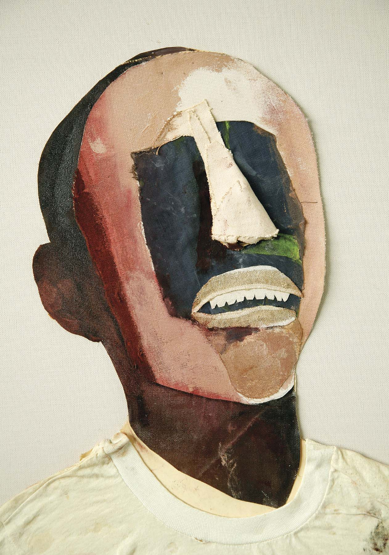 Study for Portrait of Oppression (Homage to Black South Africans)  (Detail),   1985 oil and collage on canvas 44 x 28""