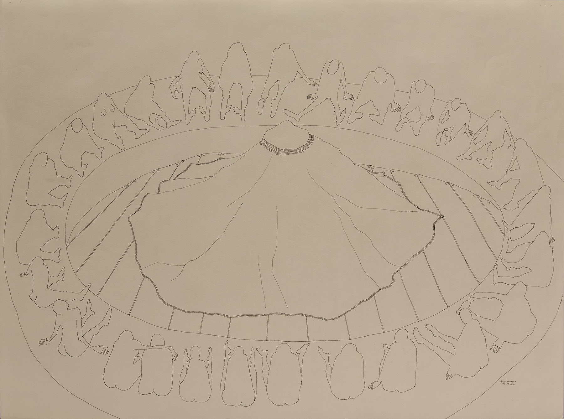 """Circle Study #7, 1972 pen and ink on paper 18 x 24"""""""