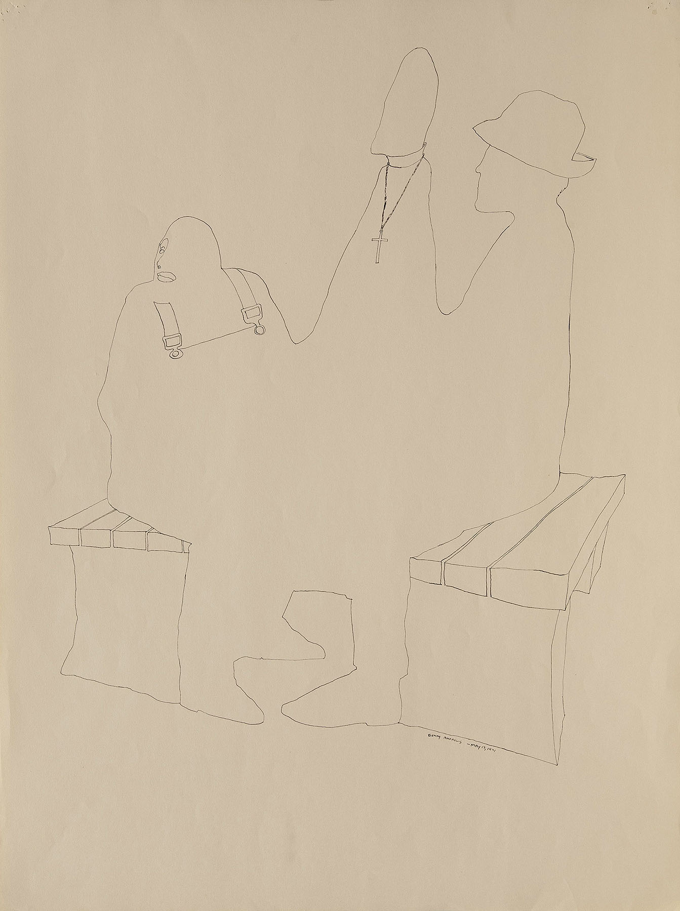 """Chessmen #2 Study for Trash, 1971 pen and ink on paper 24 x 18"""""""