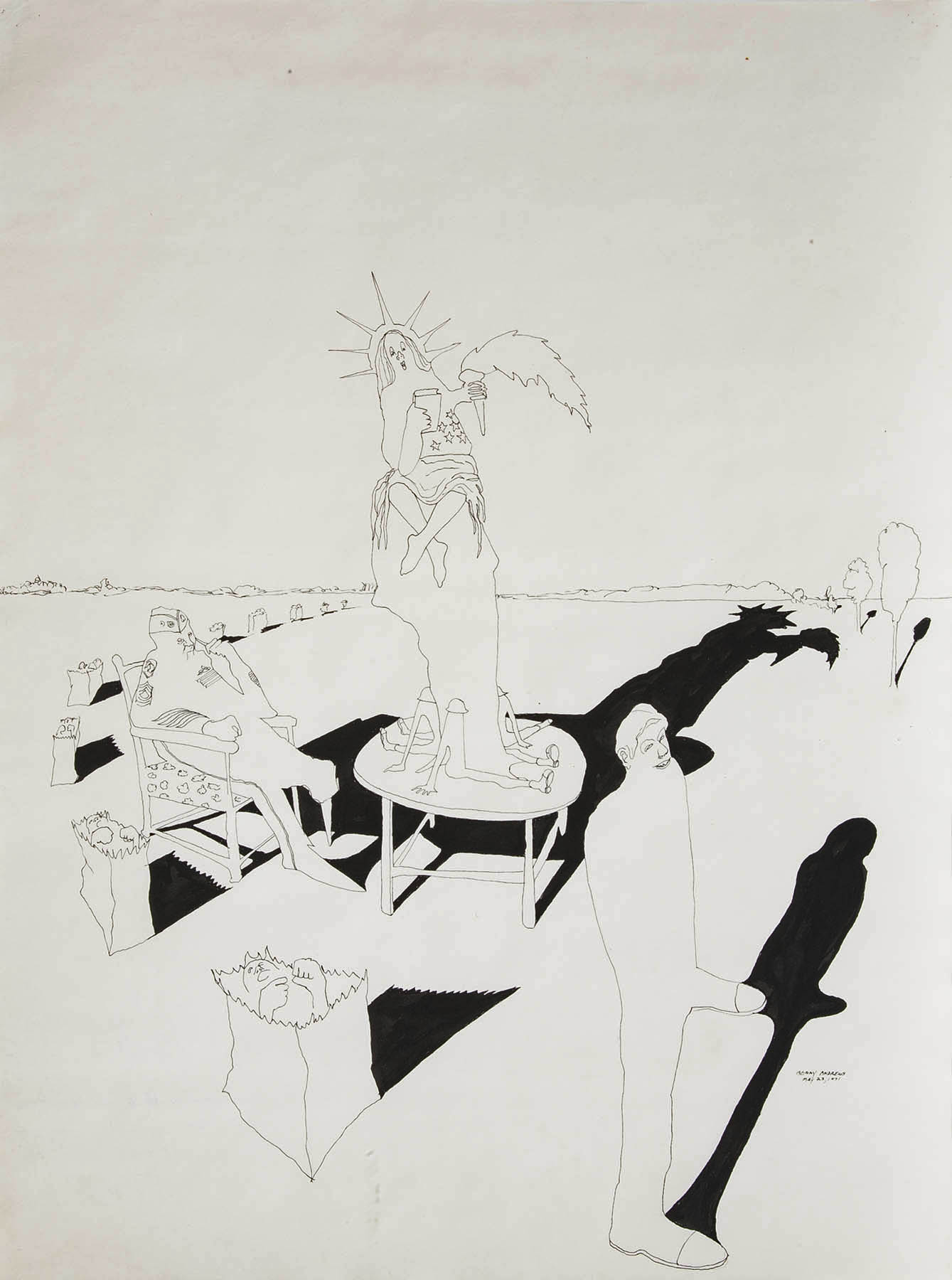 """Composition #9 for Trash, 1971 pen and ink on paper 24 x 18"""""""