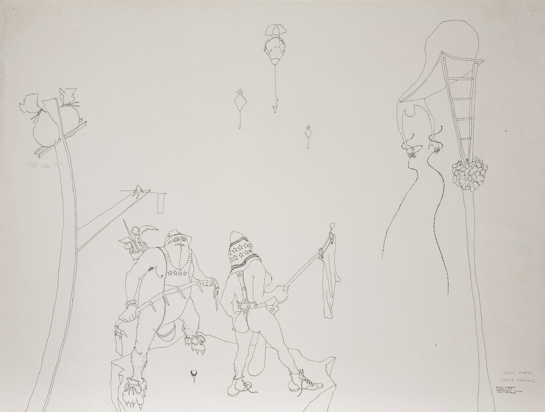 """Sexism Study #25, 1973 pen and ink on paper 18 x 24"""""""