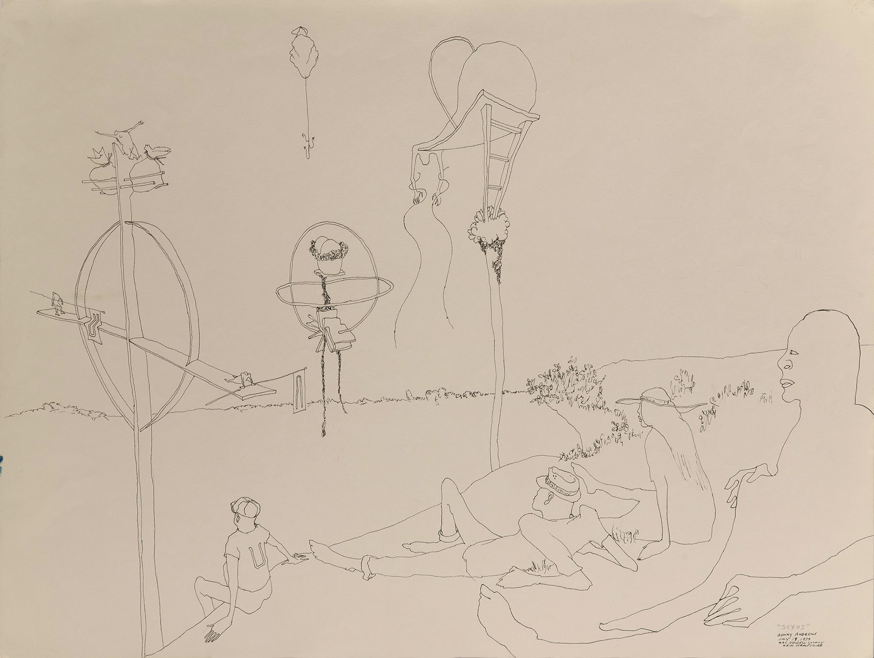 """Sexism Study #21, (Sexus), 1973 pen and ink on paper 18 x 24"""""""