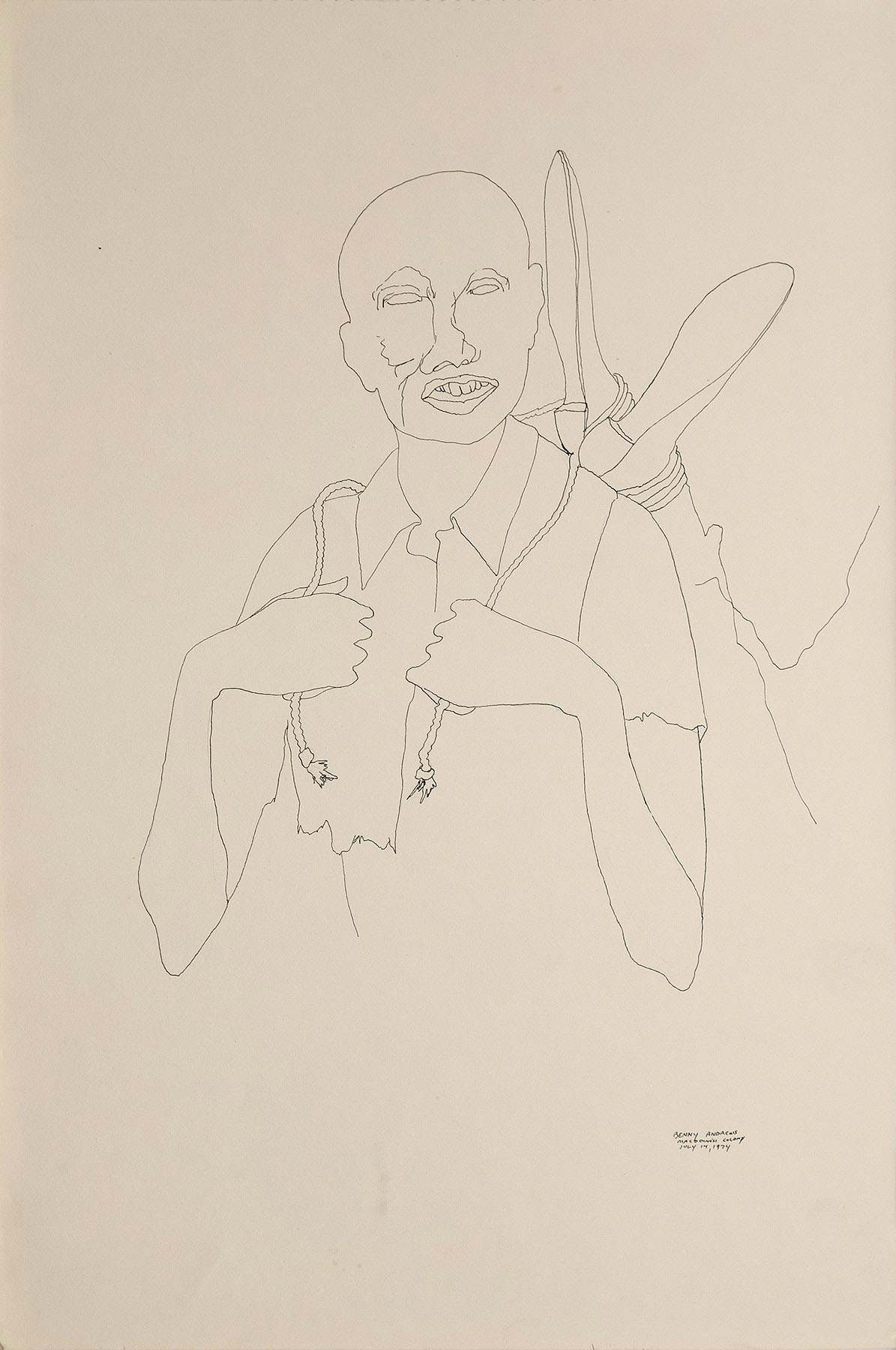 """War Study #1, 1974 pen and ink on paper 18 x 12"""""""