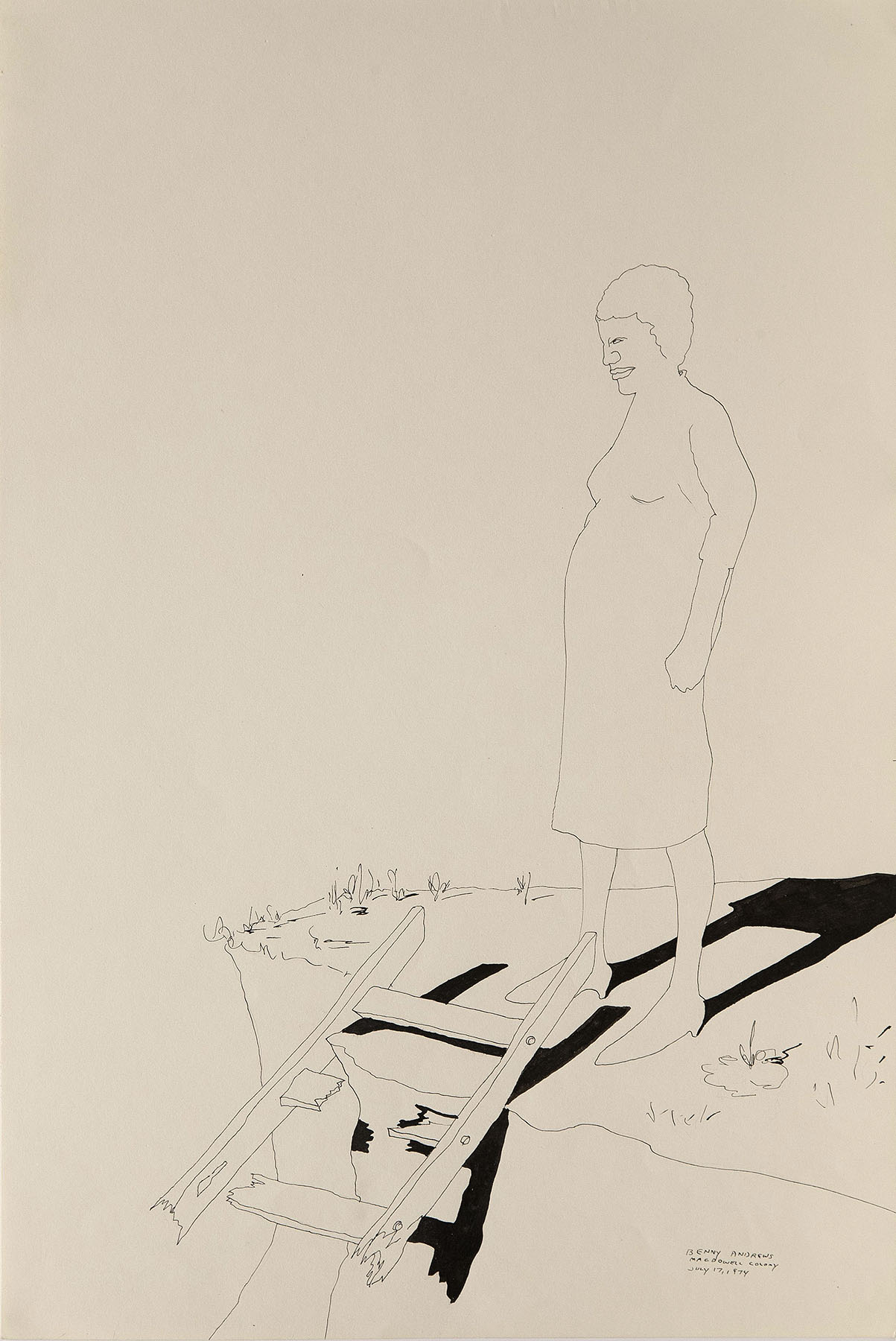 """War Study #8, 1974 pen and ink on paper 18 x 12"""""""