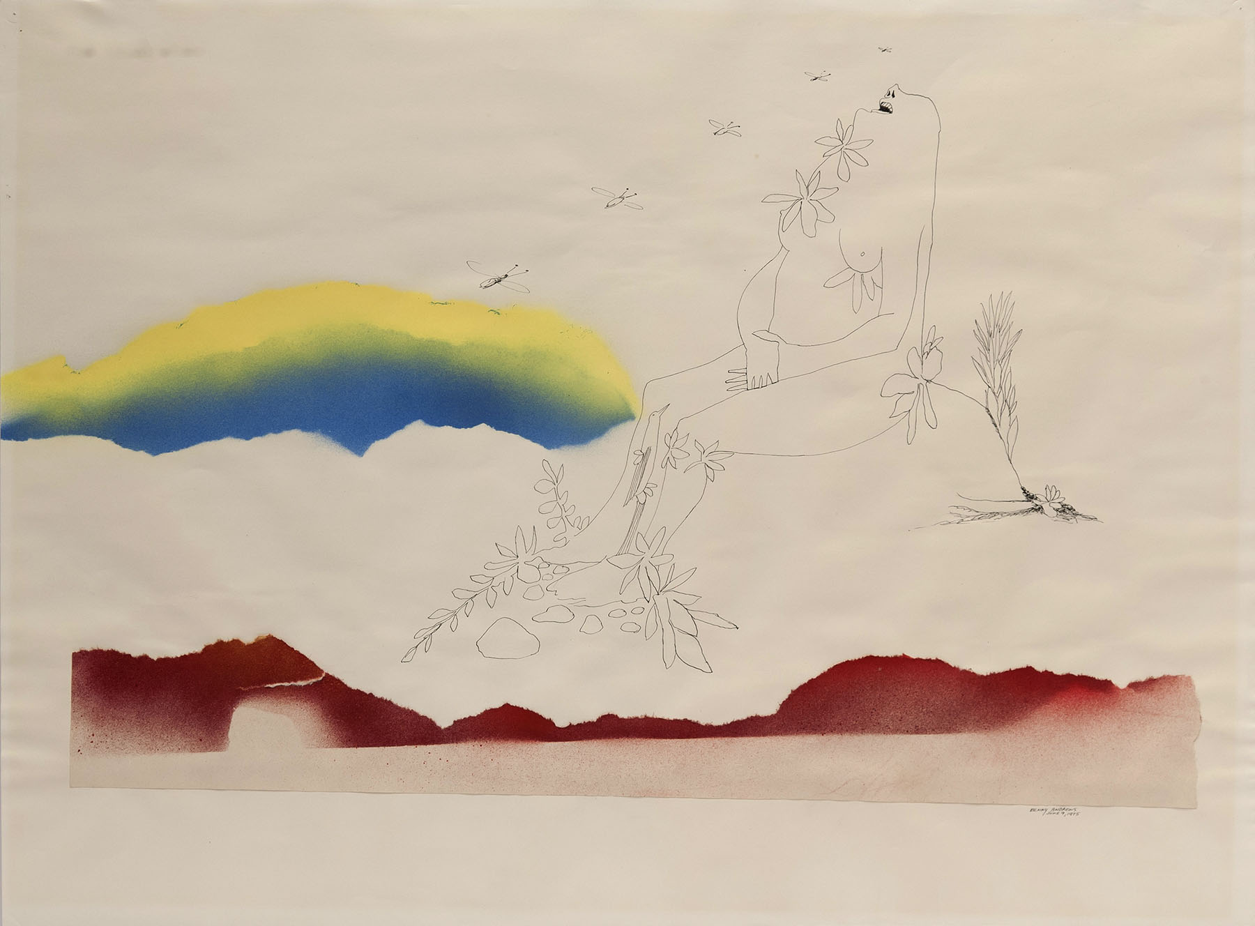 """Utopia Study #7, 1975 ink and watercolor on paper 17 x 23"""""""