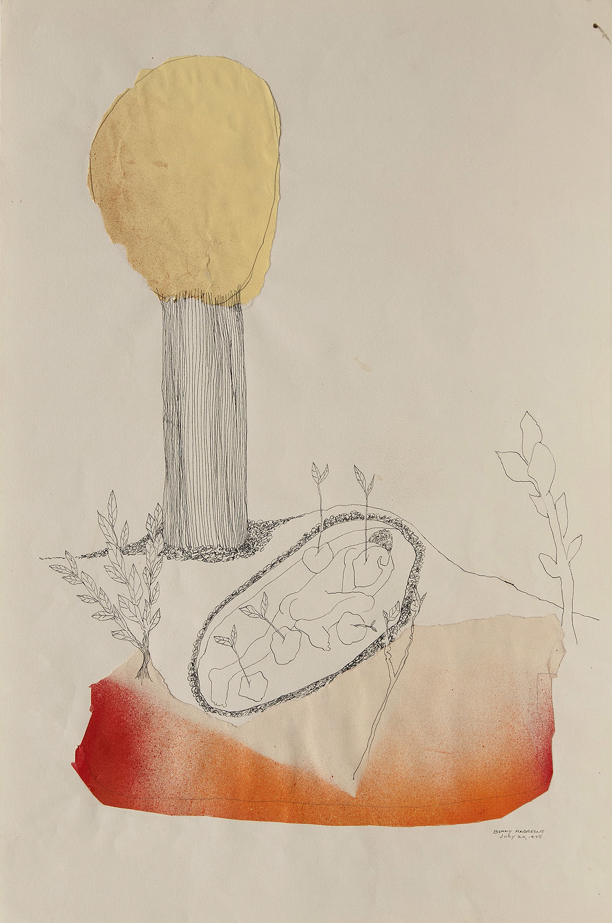 """Utopia Study #18,  1975 ink, watercolor and collage on paper 18 x 12"""""""