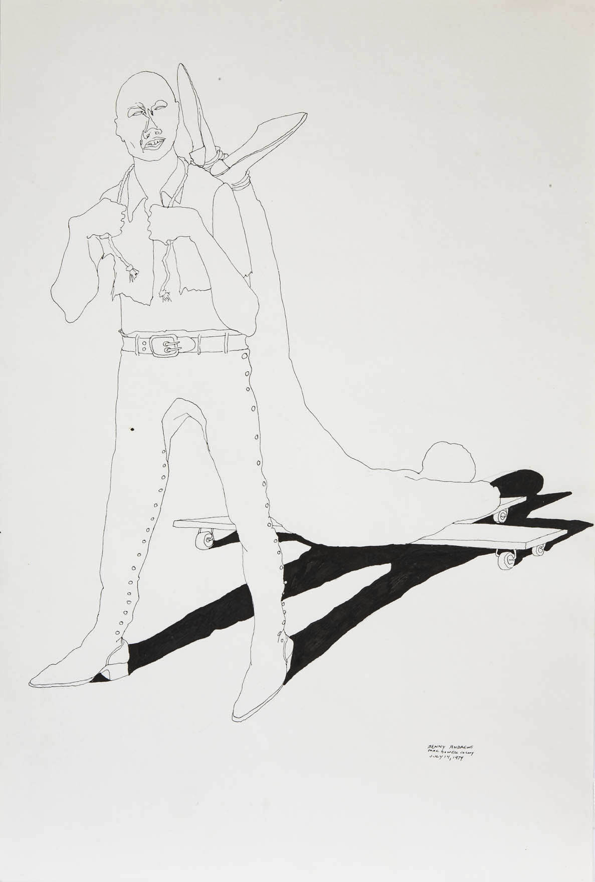 """War Study #2, 1974 pen and ink on paper 18 x 12"""""""