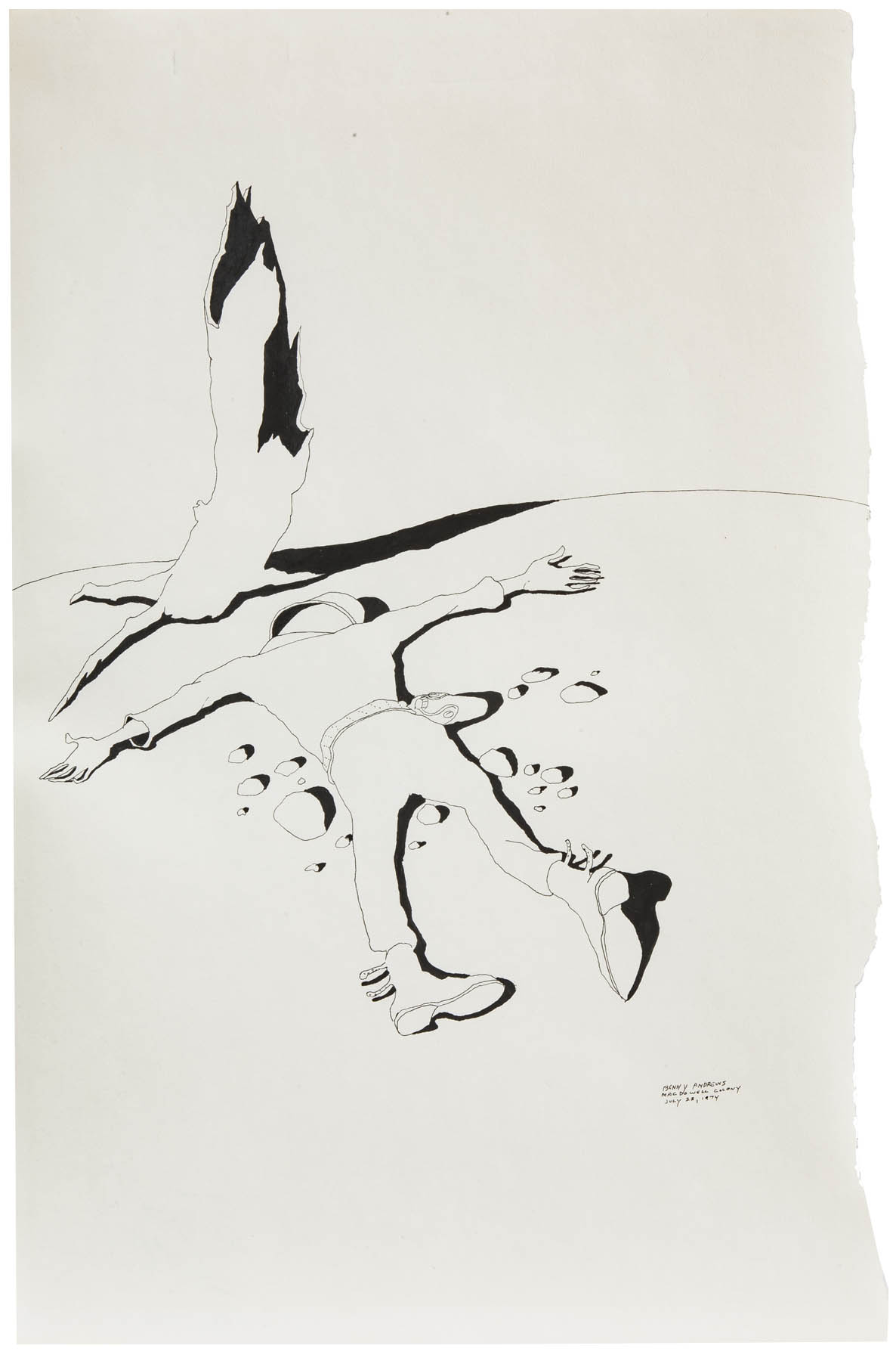 """War Study #15, 1974 pen and ink on paper 18 x 12"""""""