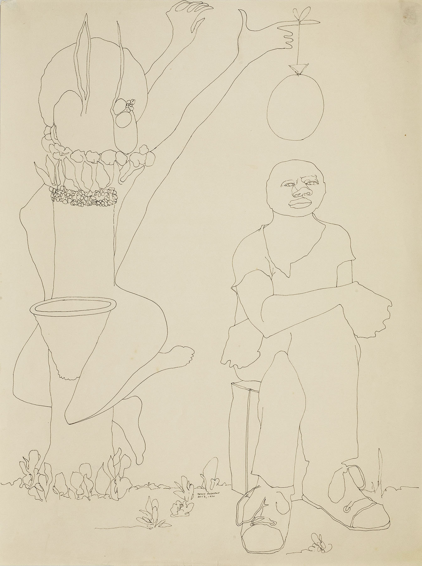 """Black Athlete Study #1, 1970 pen and ink on paper 24 x 18"""""""