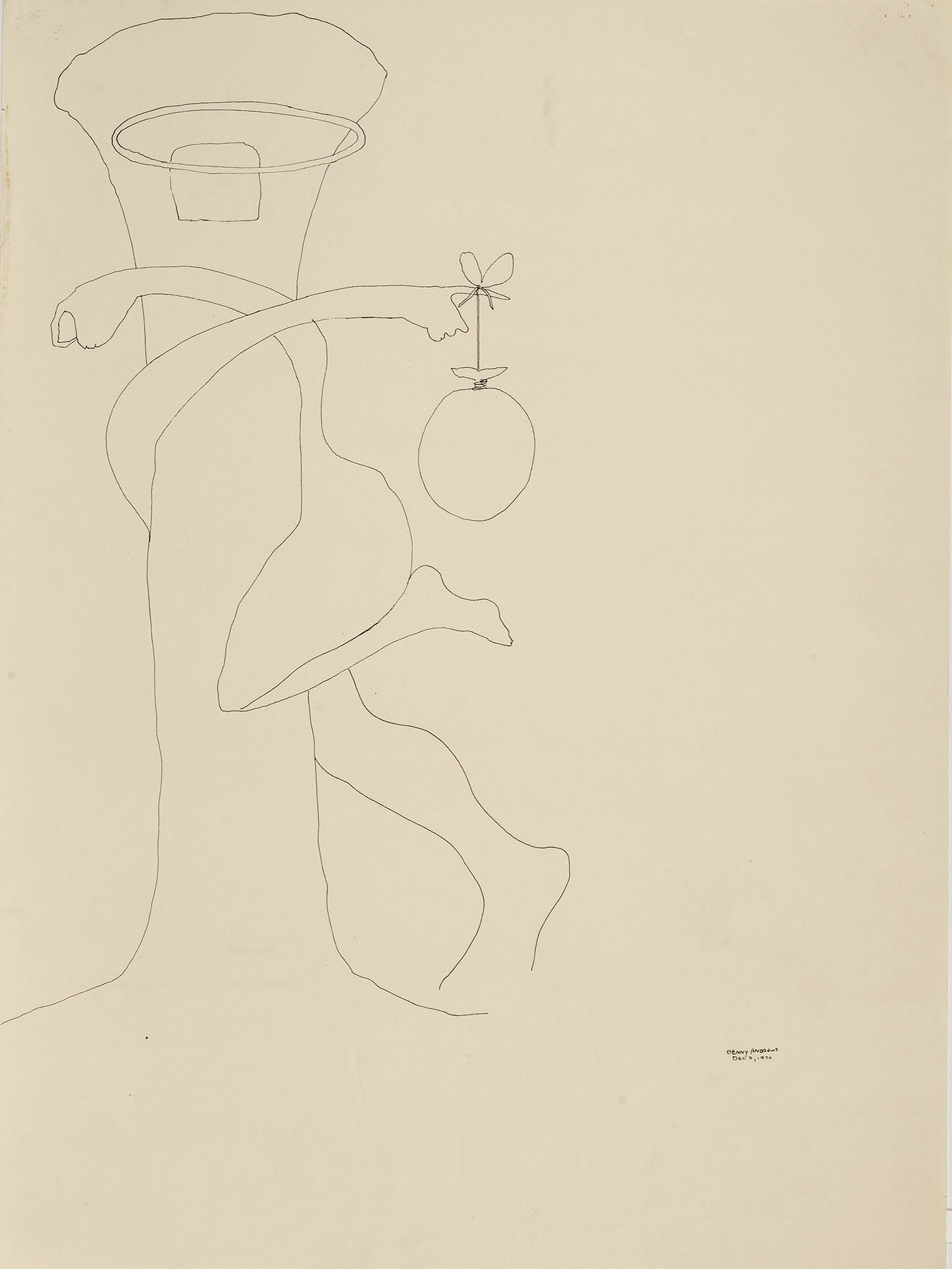 """Teaser (Black Athlete Study #2), 1970 pen and ink on paper 24 x 18"""""""