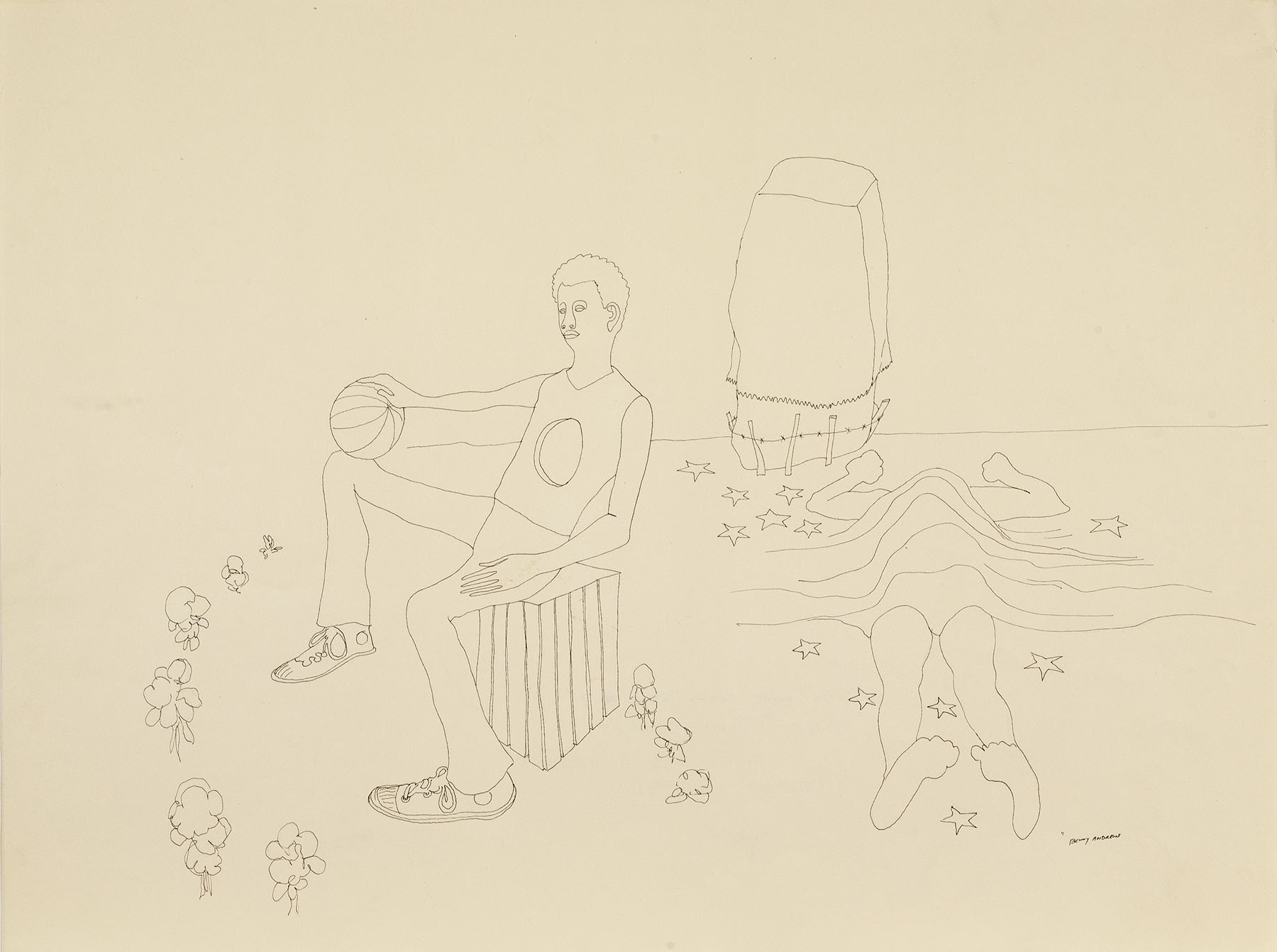 """""""The Ball Game"""" No More Games Study #7, 1970 pen and ink on paper 18 x 24"""""""
