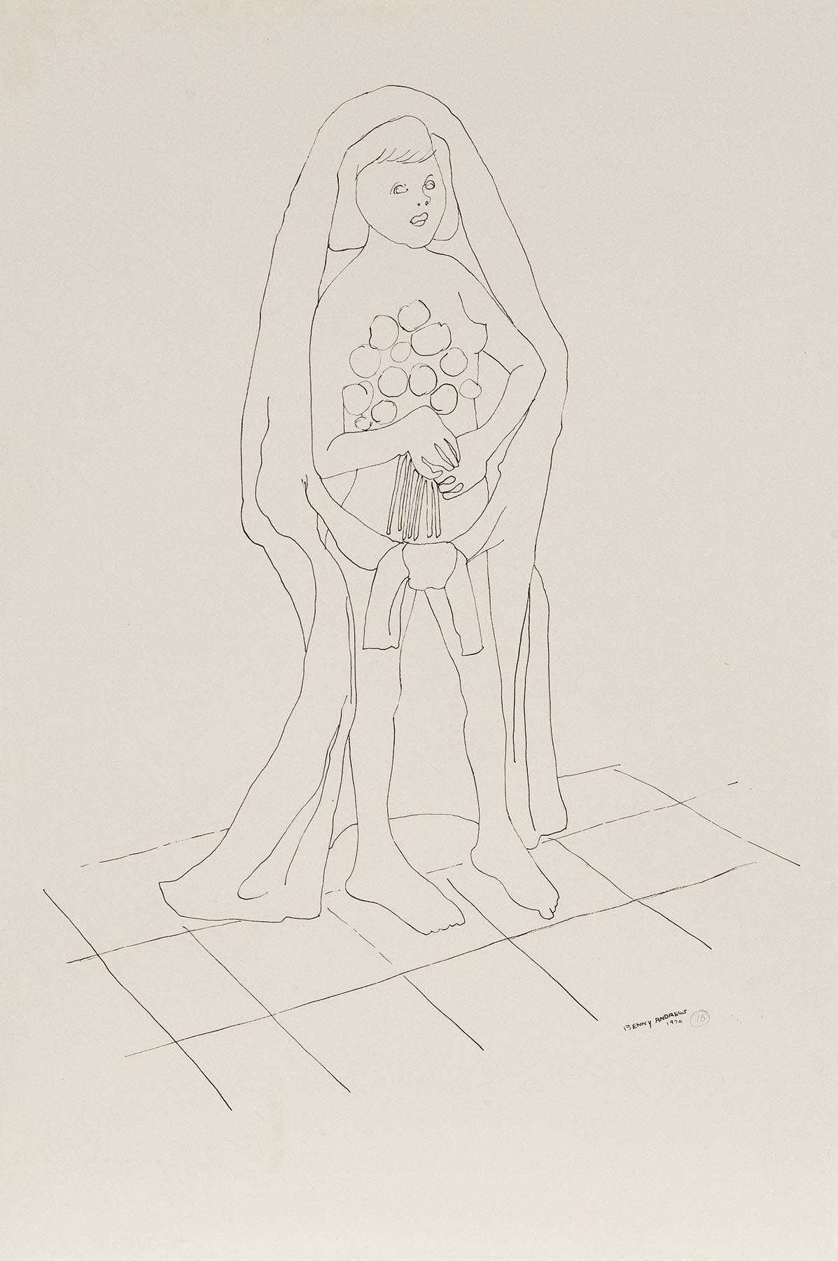 """Bride (Study for Symbols), 1970 pen and ink on paper 18 x 12.5"""""""