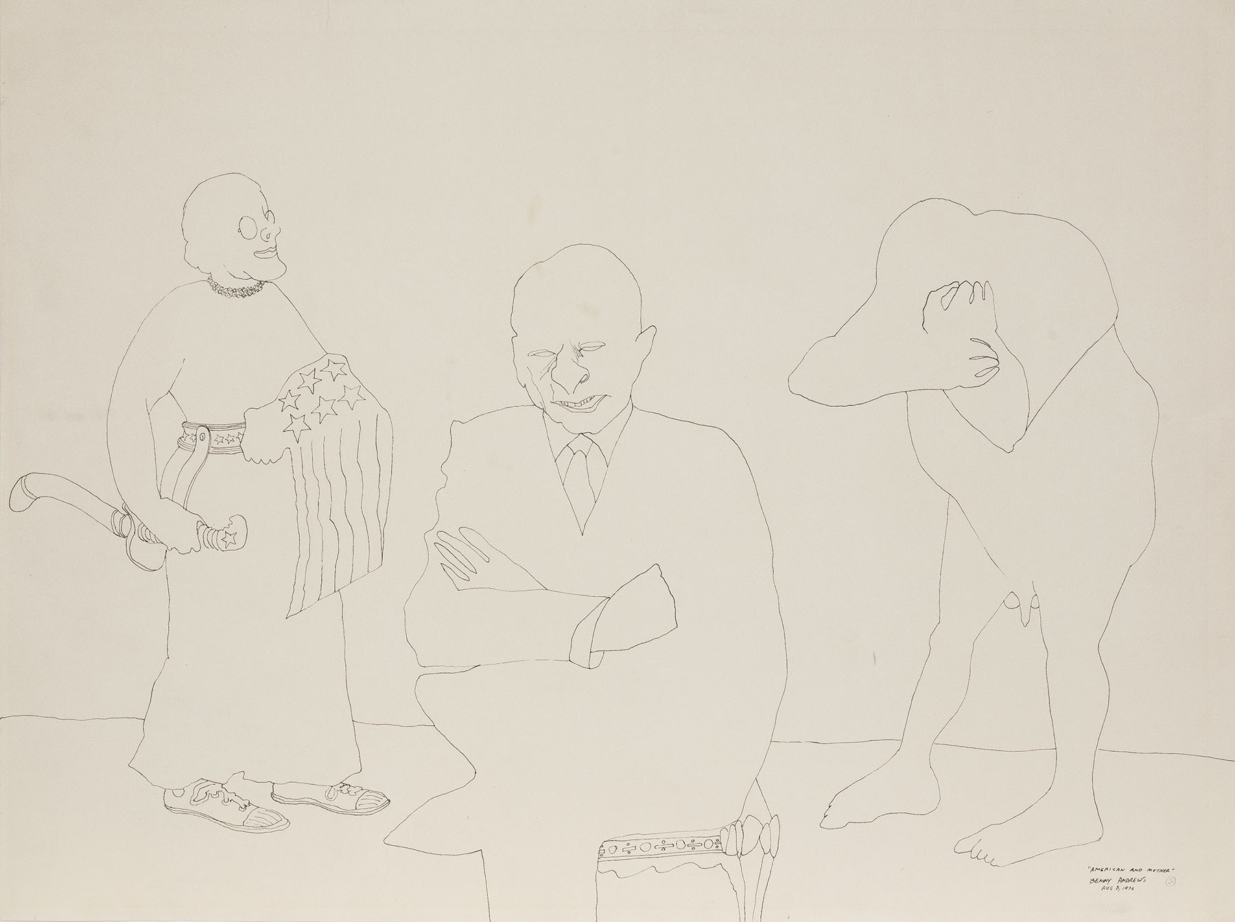 """America and Mother (Study for Symbols), 1970 pen and ink on paper 18 x 24.25"""""""