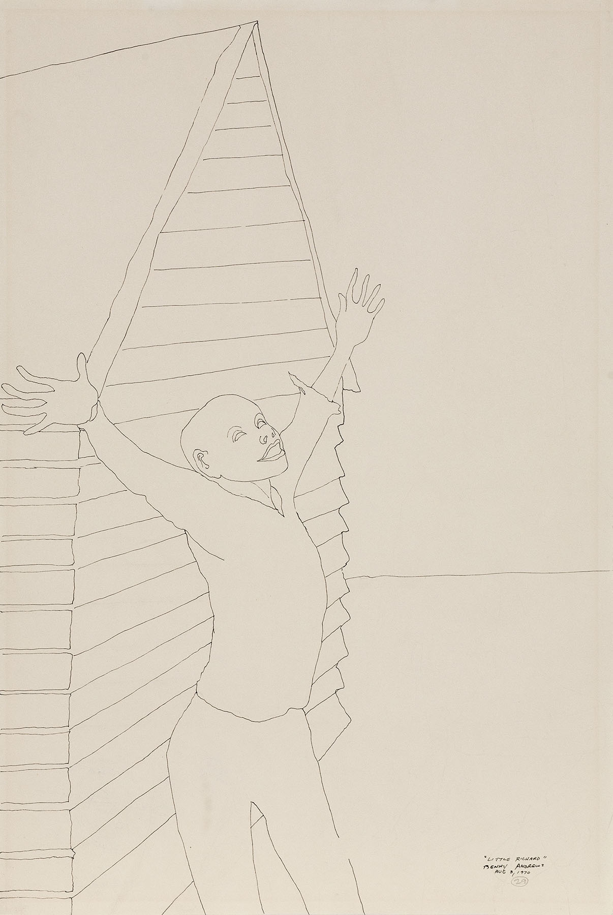 """Little Richard (Study for Symbols), 1970 pen and ink on paper 18 x 12"""""""