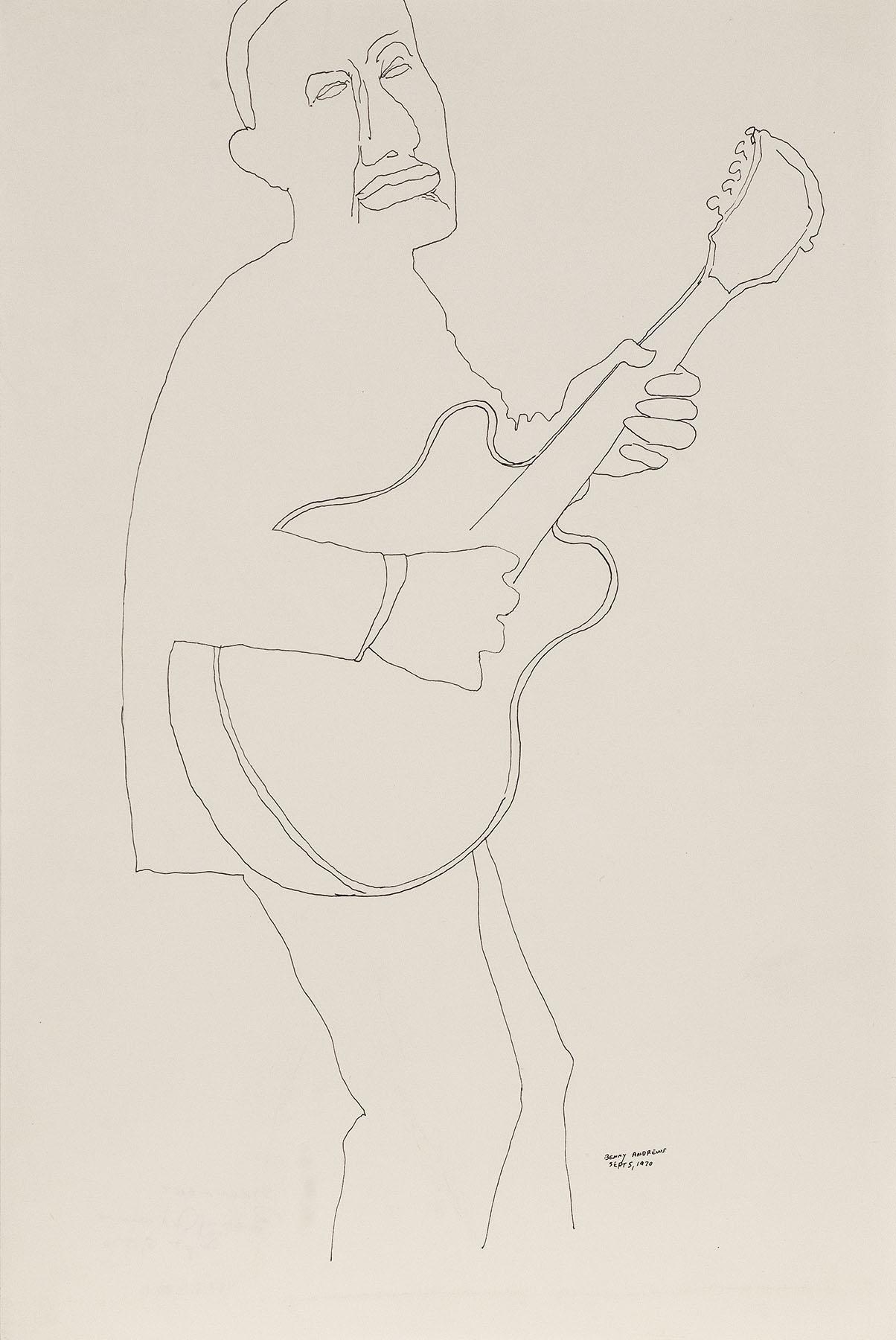 "Strummer (Study for Symbols), 1970 pen and ink on paper 18 x 12"""