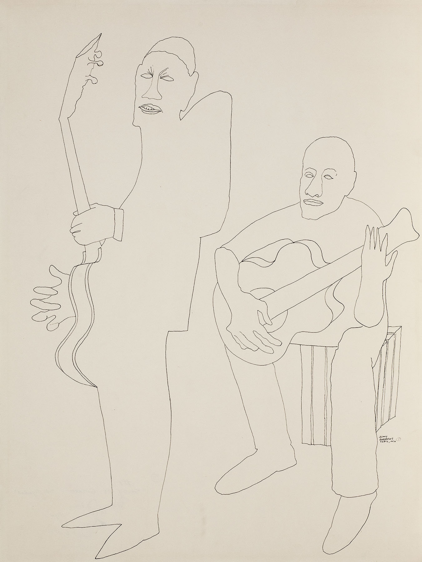 """Study of Guitarists for Symbols, 1970 pen and ink on paper 24 x 18"""""""