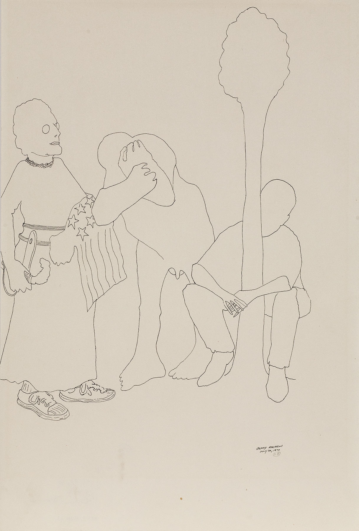 """Trio (Study for Symbols), 1970 pen and ink on paper 18 x 12.25"""""""