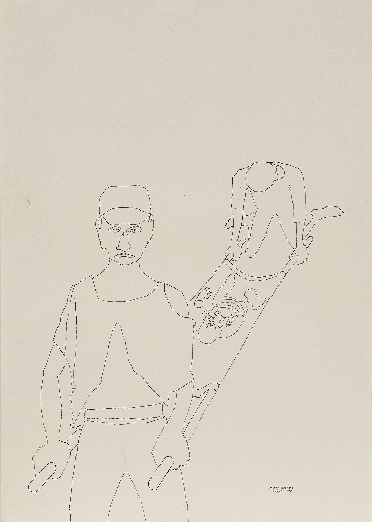 """Cargo (Study for Symbols), 1970, pen and ink on paper 17 x 12"""""""