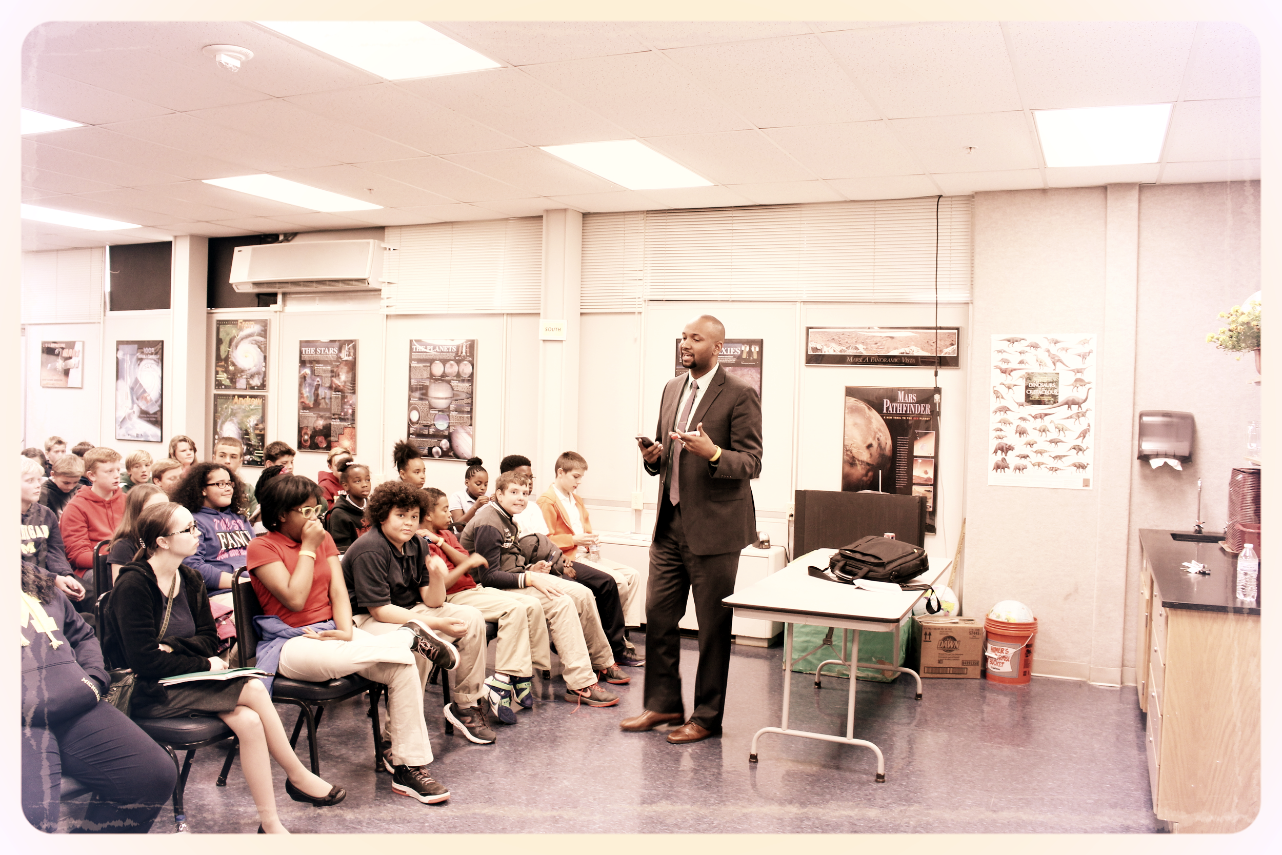 Publisher Kellen E. Brandon addresses students during a breakout session about the importance of developing a routine.  (October 2015)