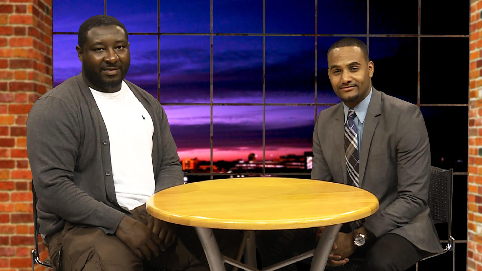 Kelvin Torbert on set with Al Micheal (WKAR Sports Talk).