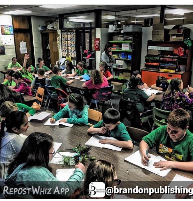 "Students at Morrish Elementary (Swartz Creek, MI) creating their book ""Imagine This, Imagine That."""