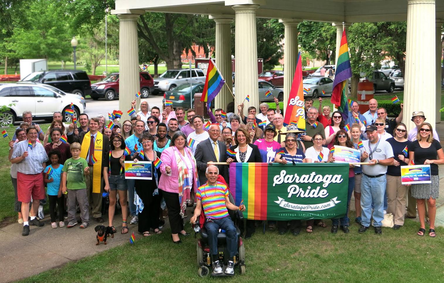 Pride group at Congress Park pavilion