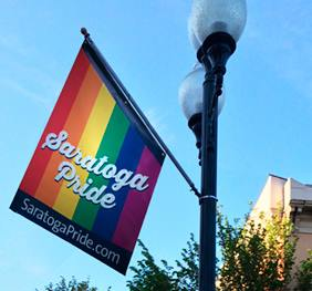 Flags are Up on Broadway! - Saratoga Pride Flags Line Broadway for the Month of June