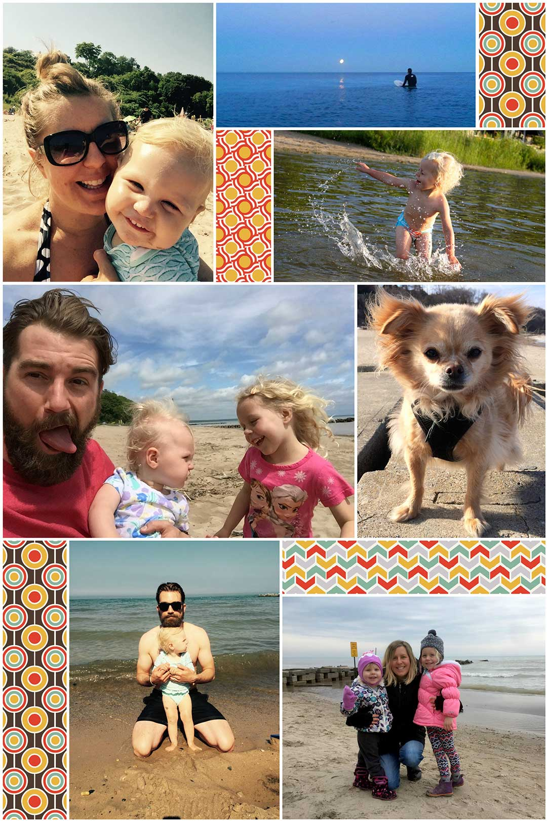 Artists, Katy Wick and Bodin Sterba with their two daughters, Gemma and Edie, and Lulu the wonderpup spending time by their beloved inland sea.