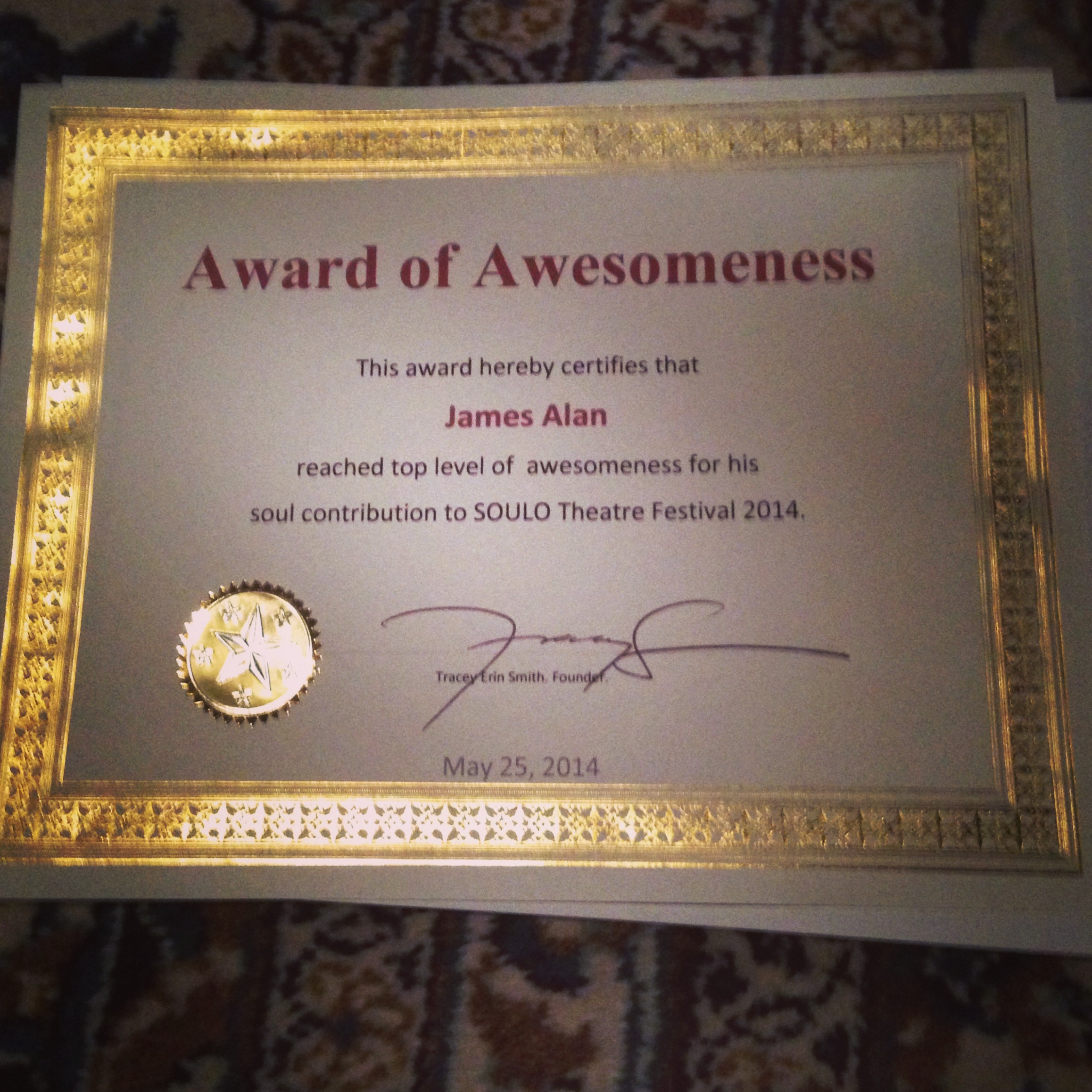 This is what an Award of Awesomeness looks like.