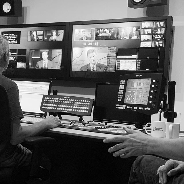 """Learning tv directing during today's filming of 'Week In Review"""" at KCPT."""