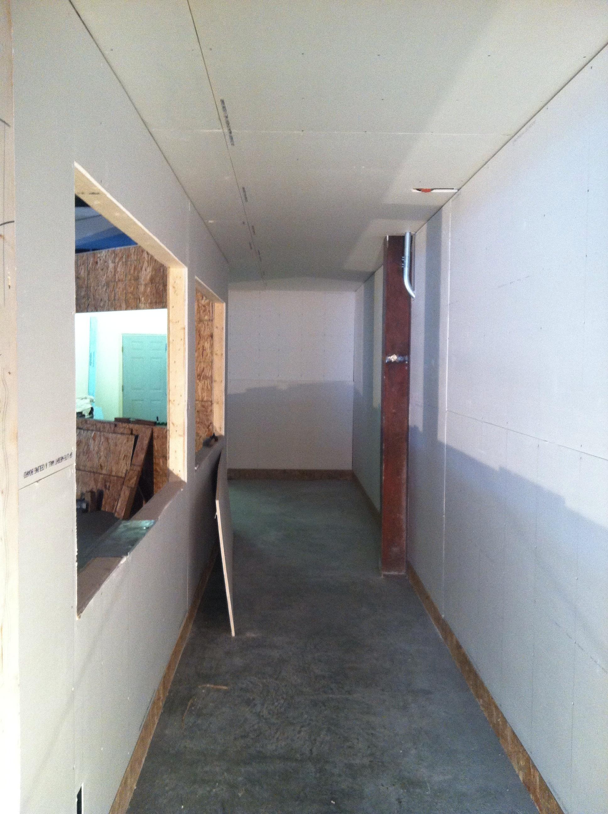Inside of hallway looking east.