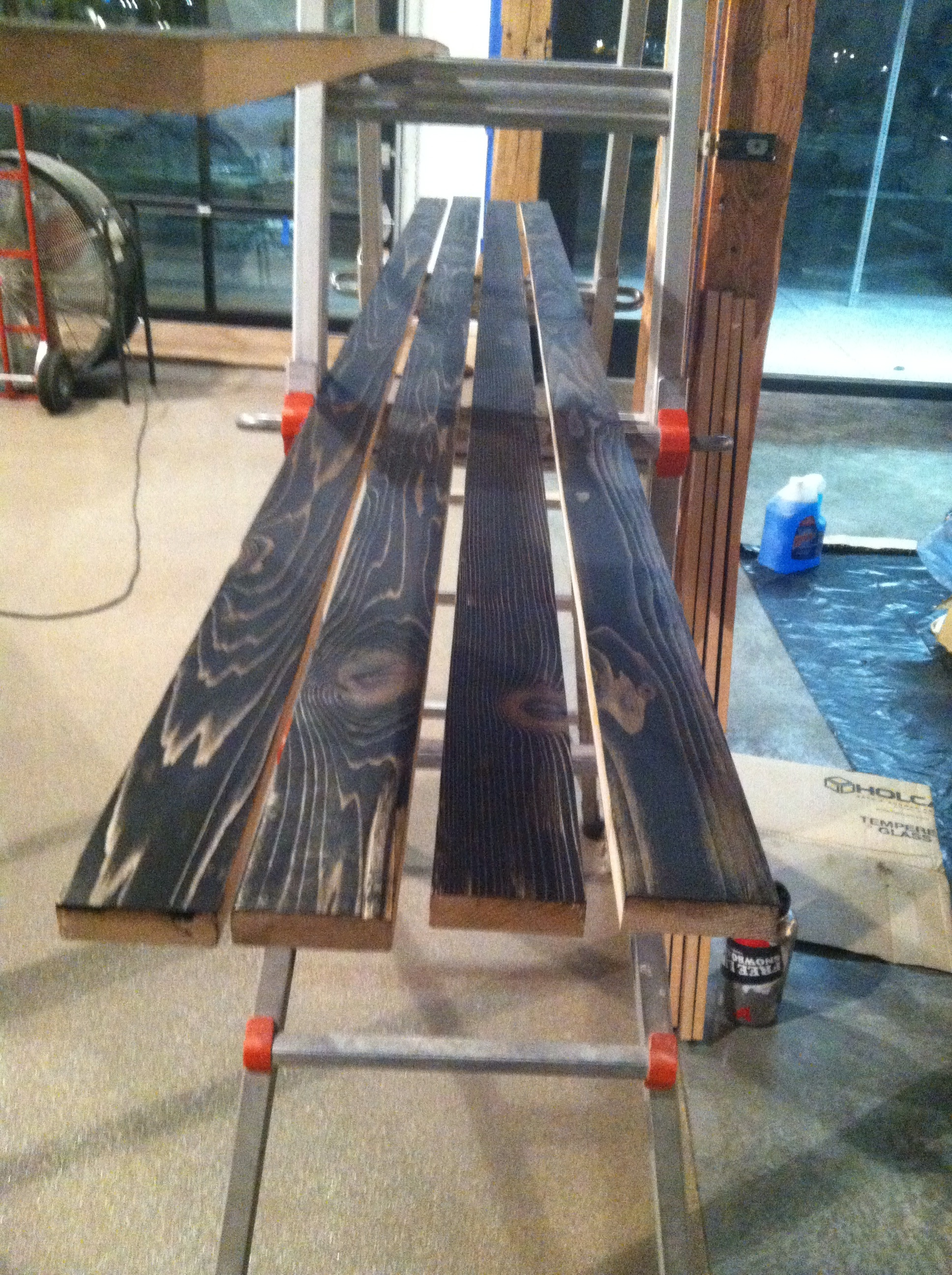 Staining cedar boards for window jambs