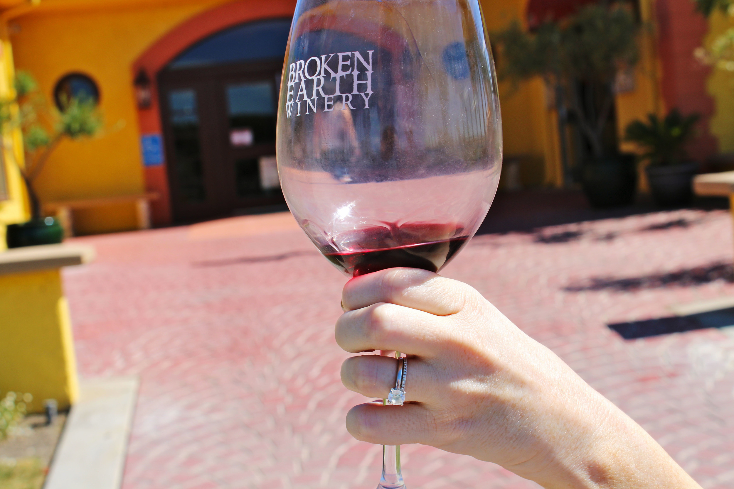 Rae taking a glass of her favorite CV reserve for a walk around the winery.