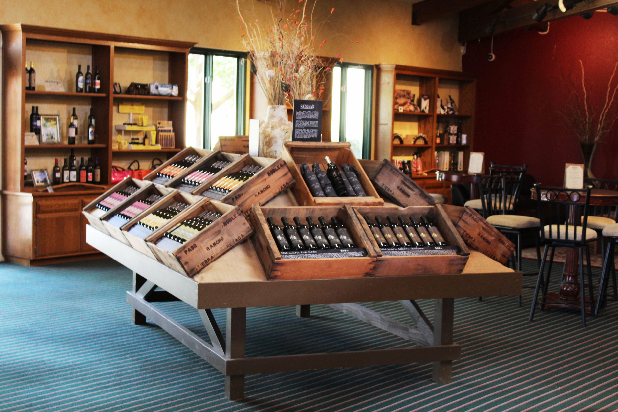 There is a nice collection of Broken Earth's wines and specialty foodstuffs guaranteed to please any palate!