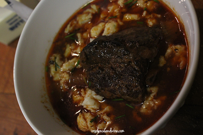 wine braised ribs with herbed spaetzle insolence + wine