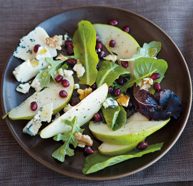 Winter Pear Salad with Blue Cheese, Walnuts and Pomegranate via  Williams-Sonoma  (we skip the walnuts)